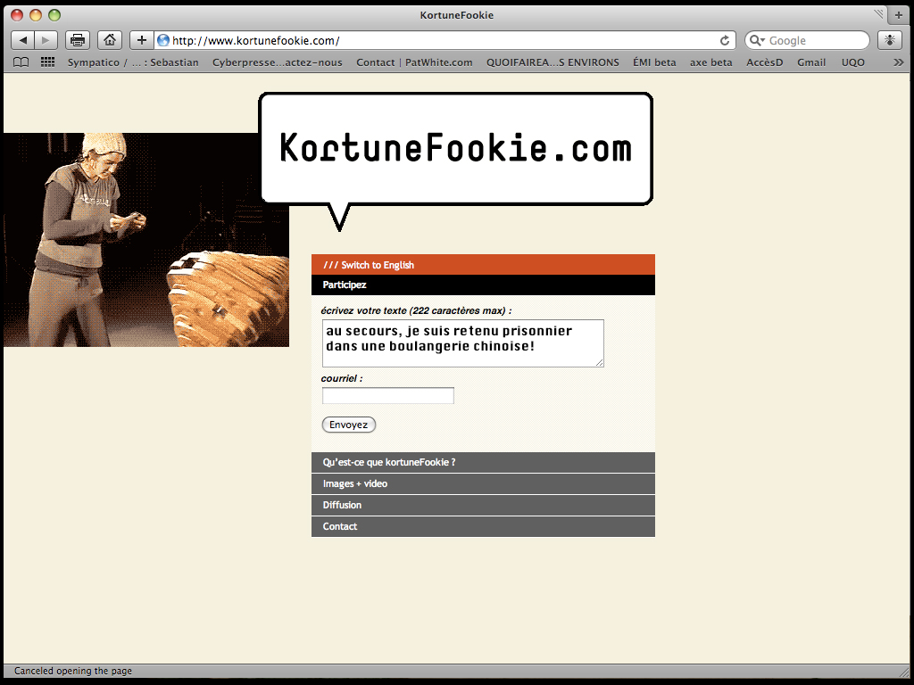 Interface du site Web Kortunefookie (2009)
